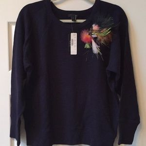 J Crew new sweatshirt with removable feather pin